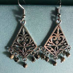 Chandelier earrings with black and grey  beads